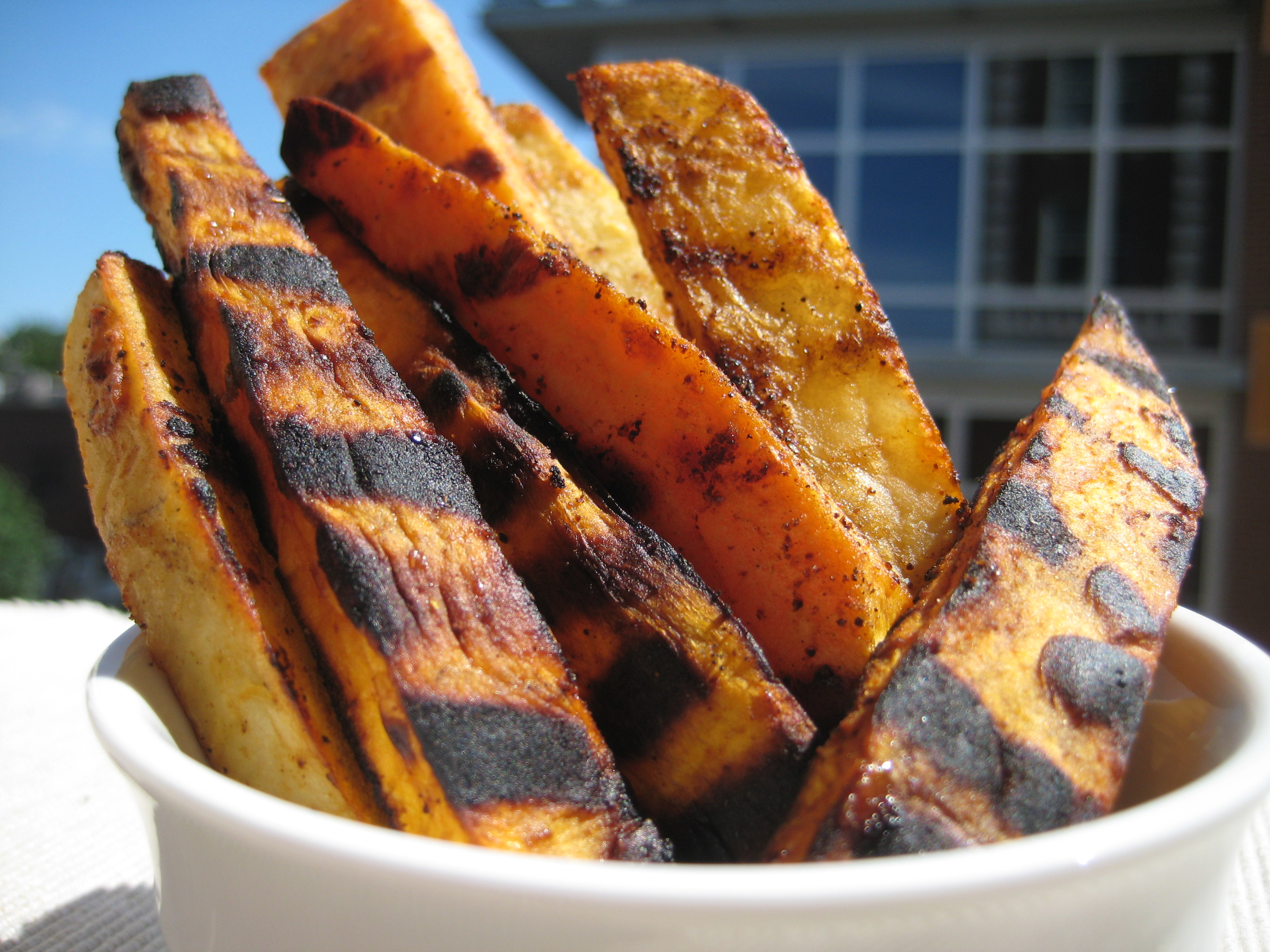 Grilled Sweet Potato and White Potato Fries