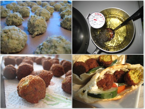 Falafel Frying Collage
