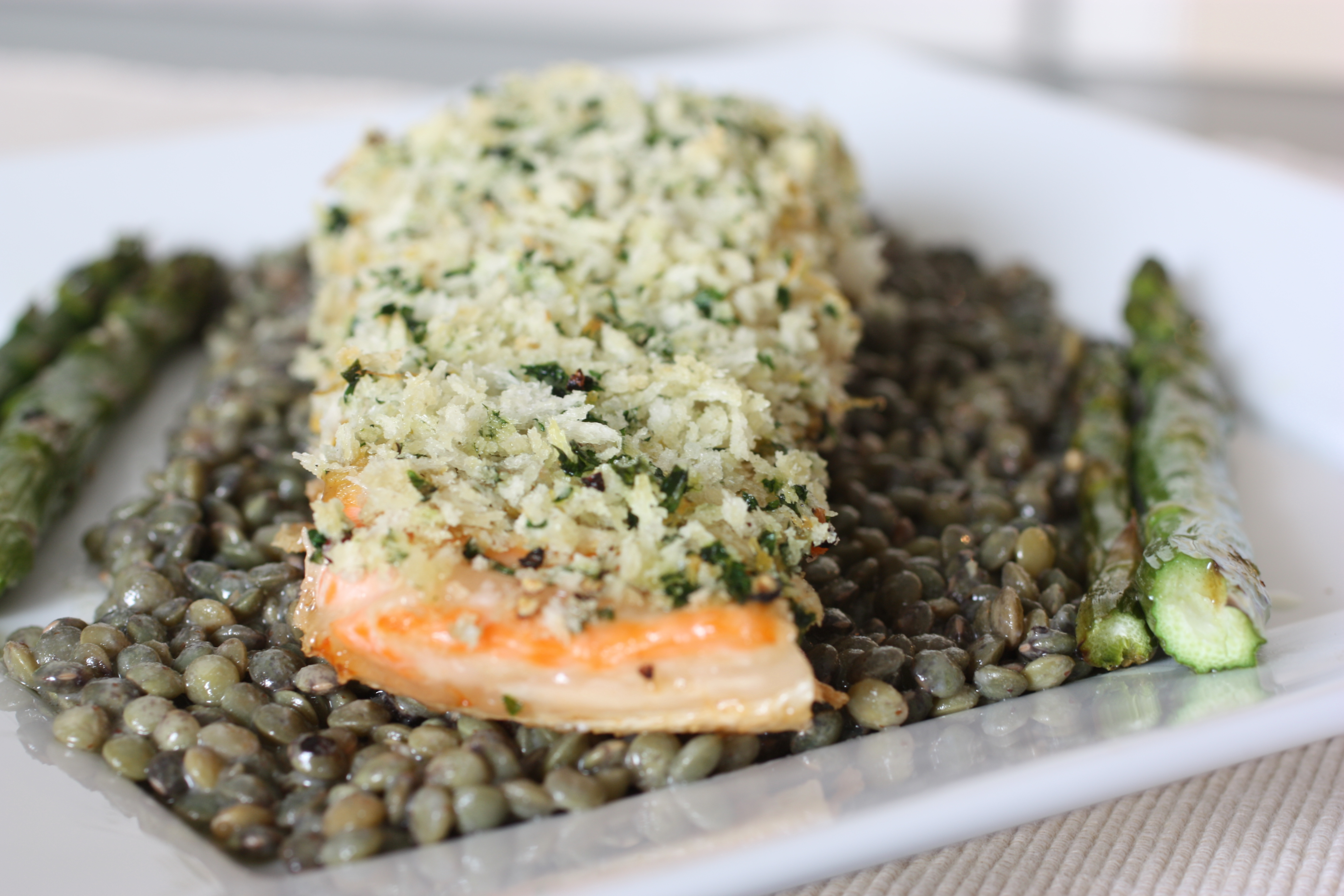 Panko-Crusted Salmon with French Lentils