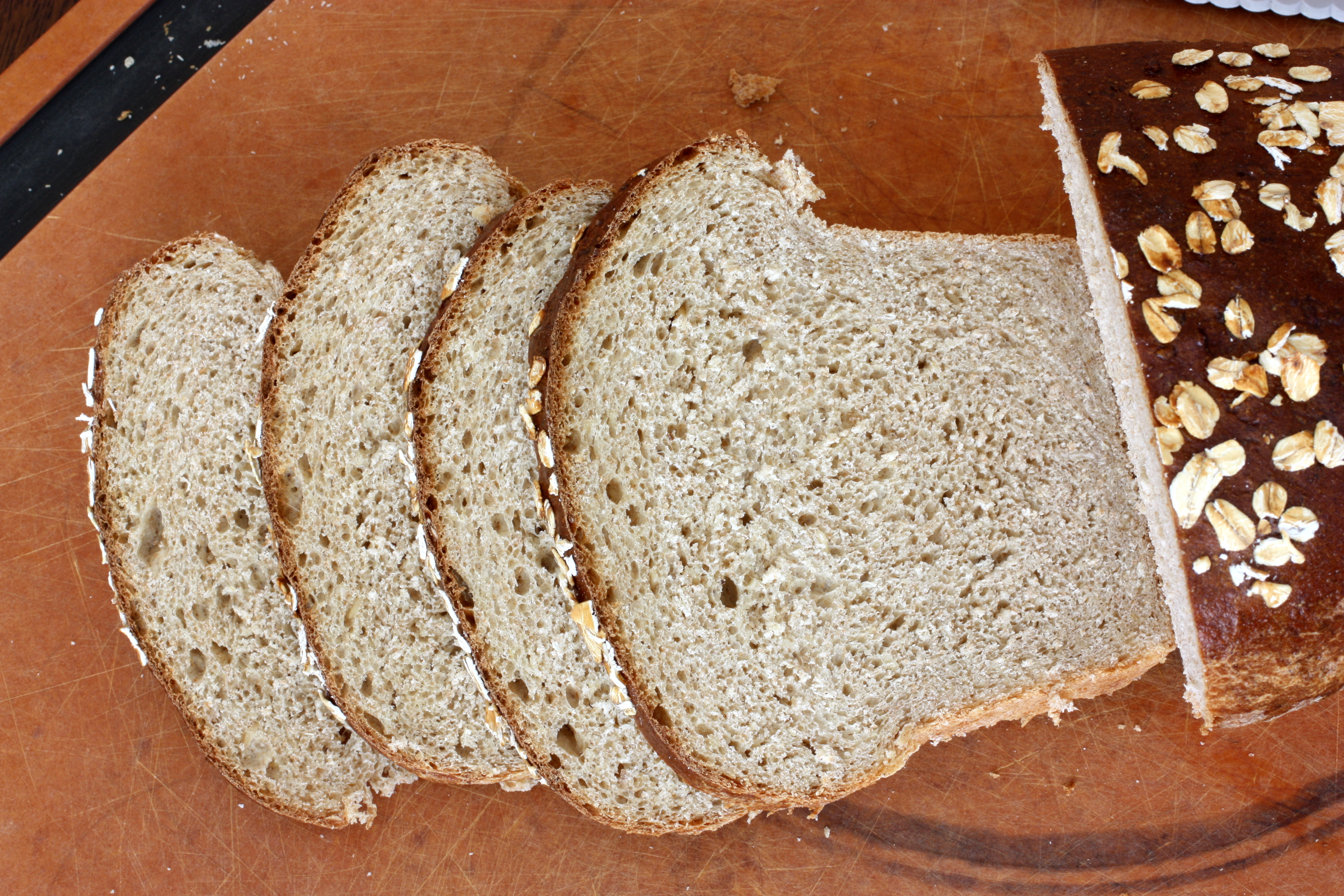 Whole Wheat Banana Oat Yeast Bread |